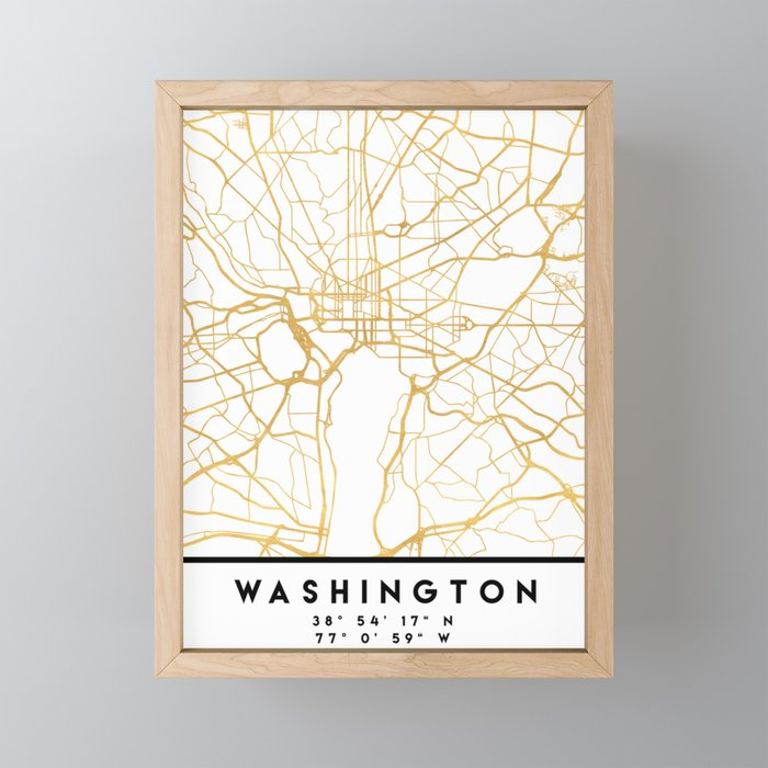WASHINGTON D.C. DISTRICT OF COLUMBIA CITY STREET MAP ART Framed Mini Art Print