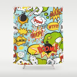 Comic boom seamless pattern Shower Curtain