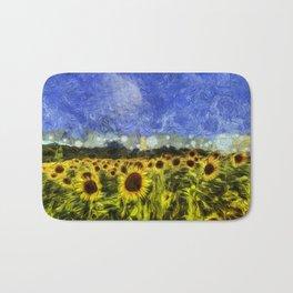 Summer Sunflowers Van Gogh Bath Mat