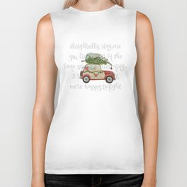 Vintage Christmas car with tree red Biker Tank