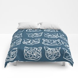 Blue and White Silly Kitty Faces Comforters