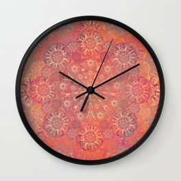 """""""Coral & Rosewood Mandala (pattern)"""" Wall Clock"""