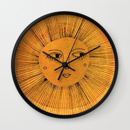 Sun Drawing Gold and Blue Wall Clock