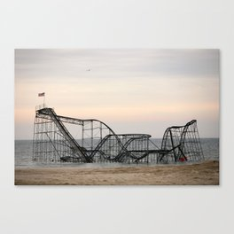 Jet Star Roller Coaster in Ocean After Hurricane Sandy Canvas Print
