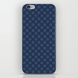 Hand painted navy blue Christmas snow flakes motif iPhone Skin