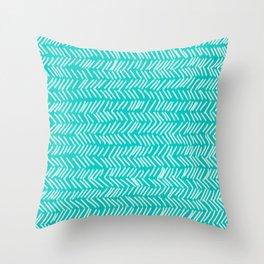Turquoise Herringbone Lines Throw Pillow