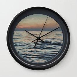 Sunset through the Porthole Wall Clock