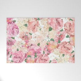 Flowers, Floral Explosion, Floral Pattern, Pink Flowers Welcome Mat
