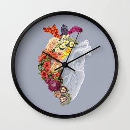 Flower Heart Spring Light Grey Wall Clock