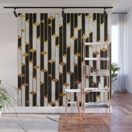 Marble Skyscrapers - Black, White and Gold Wall Mural