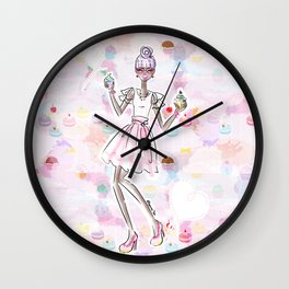 Cupcake Party Girl Wall Clock