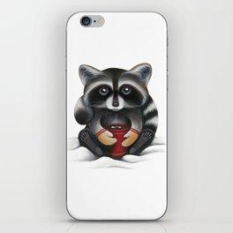 Raccoon with Hot Chocolate iPhone Skin