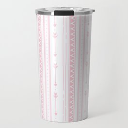 Blush pink white bohemian arrows zigzag geometrical Travel Mug