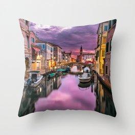 Venice Canal at Sunset Throw Pillow