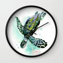 Sea Turtle, underwater scene, navy blue green turquoise Wall Clock