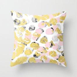 Stellan - Rose Marble Gold abstract art painting modern minimal love rosequartz pastel pink dorm Throw Pillow