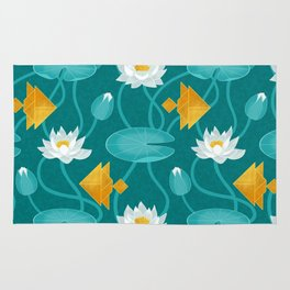 Tangram goldfish and water lillies Rug