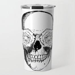 Skull and Roses   Black and White Travel Mug