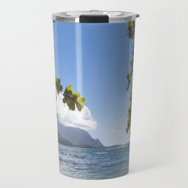Empty chair on beach overlooking Hanalei Bay in Kauai, Hawaii Travel Mug