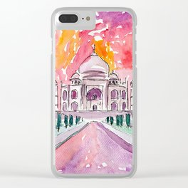 Taj Mahal - Colorful Crown of the Palace and Love Clear iPhone Case