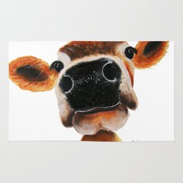 Nosey Cow ' JERSEY JOY ' by Shirley MacArthur Rug