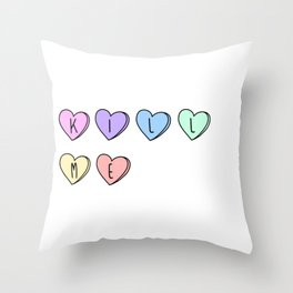 Kill Me Candy Hearts Throw Pillow