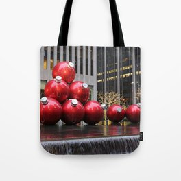 Huge Christmas Ball Ornaments in NYC Tote Bag
