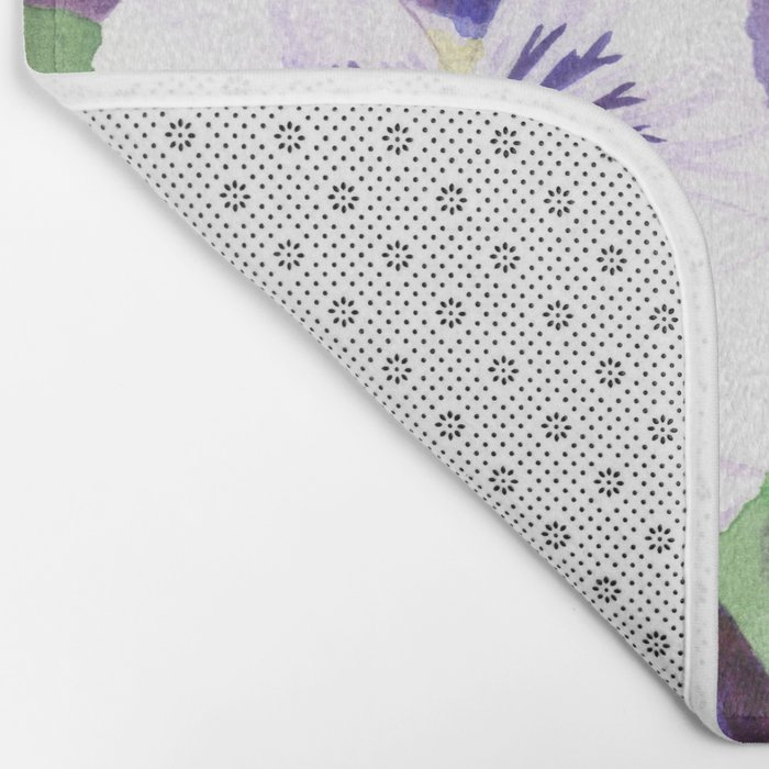 Purple and white pansies flowers Bath Mat