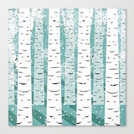 Birch Trees Teal Background Scandinavian Design Canvas Print