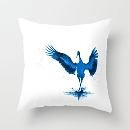 Blue Crane Throw Pillow