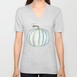 Gray Teal Pumpkin Watercolor Unisex V-Neck