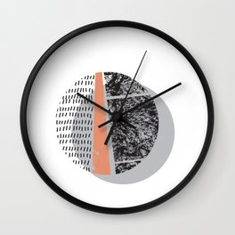 Abstract circles in peach and black Wall Clock