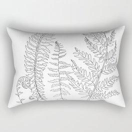 Minimal Line Art Fern Leaves Rectangular Pillow