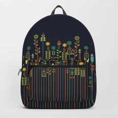 Overgrown flowers Backpacks