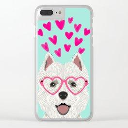 Westie west highland terrier white valentines day dog lover pet valentine Clear iPhone Case