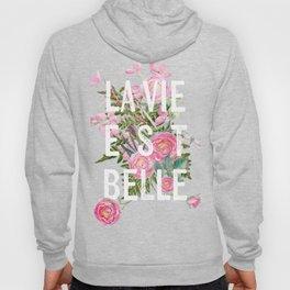 LAVIE EST BELLE - Watercolor - Pink Flowers Roses - Rose Flower Hoody