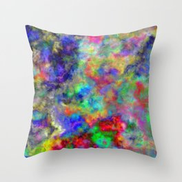 Abstract bright colorful watercolor brushstrokes pattern Throw Pillow