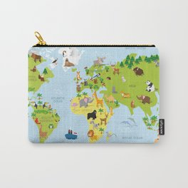 Funny cartoon world map with traditional animals of all the continents and oceans Carry-All Pouch