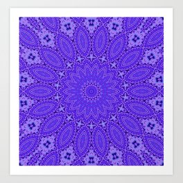 Lovely Healing Mandala  in Brilliant Colors: Purple and Blue Art Print