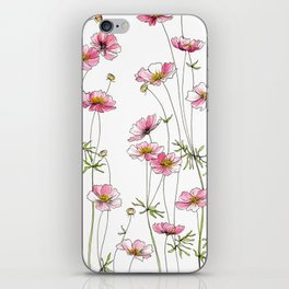 Pink Cosmos Flowers iPhone Skin