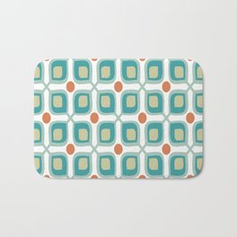 Abstract Flower Pattern Mid Century Modern Retro Turquoise Orange Bath Mat