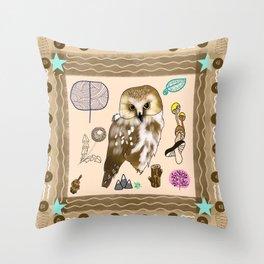 Woodland Bohemian Owl, Forest Animal, Woodland Creatures Throw Pillow