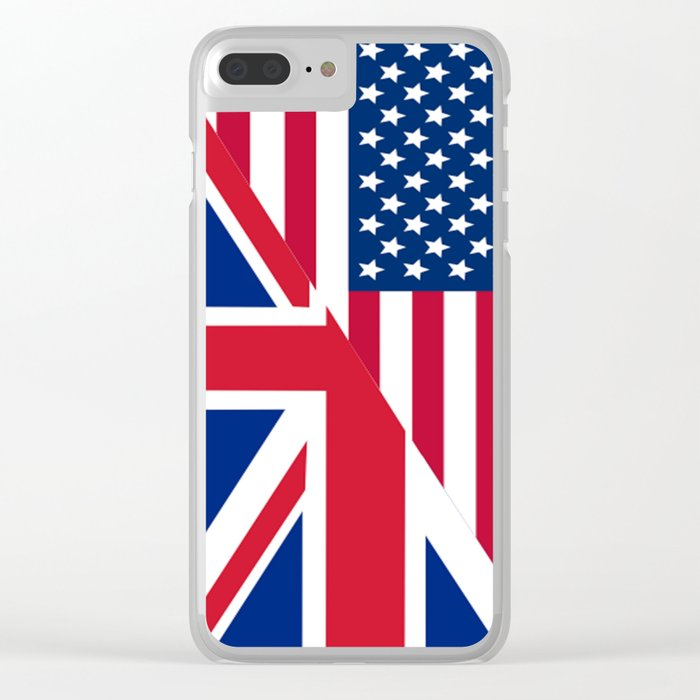 American and Union Jack Flag Clear iPhone Case