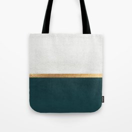Deep Green, Gold and White Color Block Tote Bag