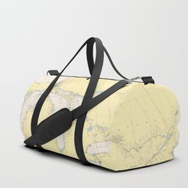Vintage Map of The Great Lakes (1966) Duffle Bag