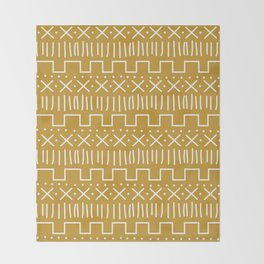 Mustard Mud Cloth Throw Blanket