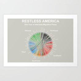 Restless America -- One Year of Interstate Migration Flows Art Print