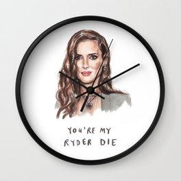 Ryder Die - Winona Ryder Funny Illustration Wall Clock