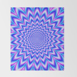 Psychedelic Pulse in Blue and Pink Throw Blanket