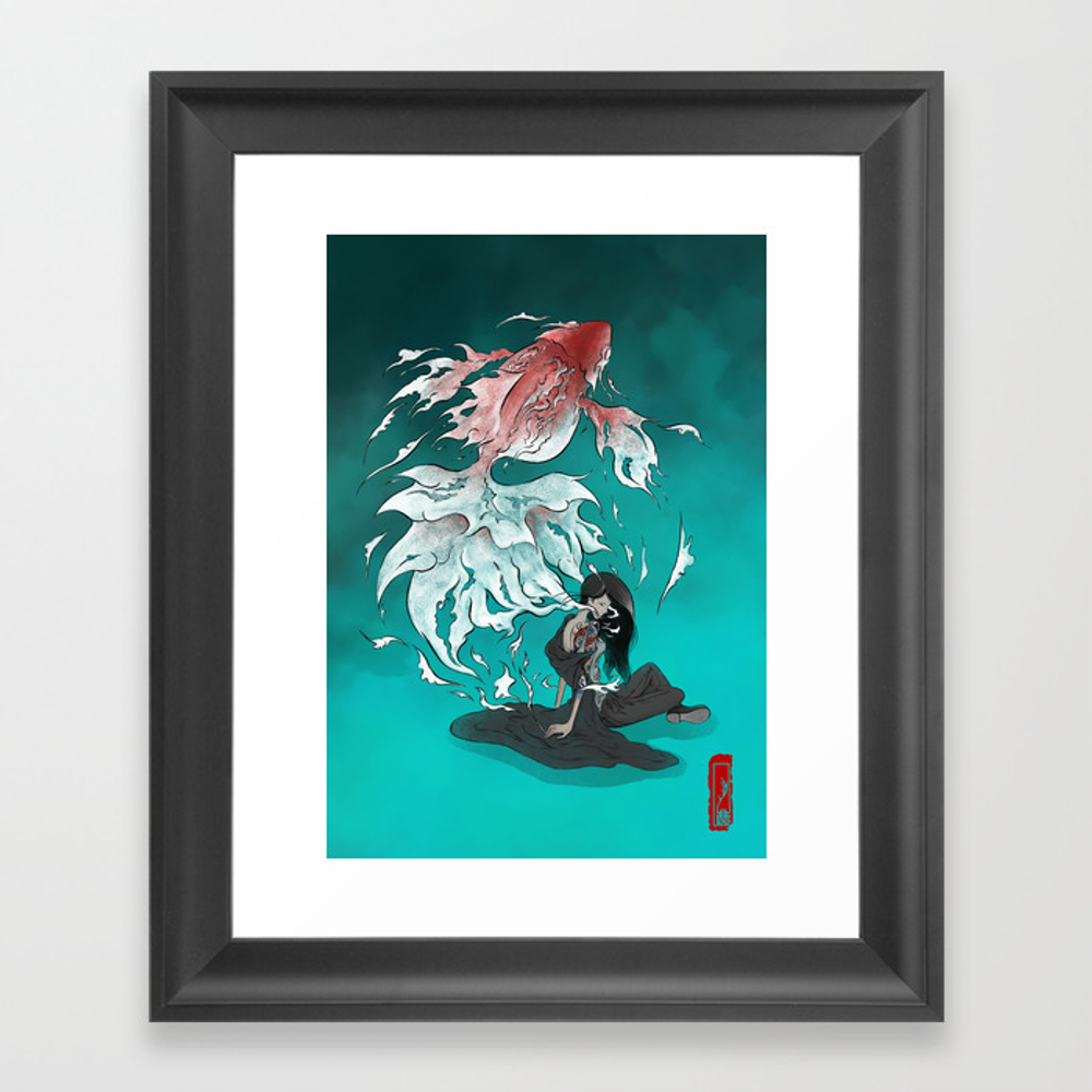 Carp Tattoo Framed Art Print by Alex_lu FRM8538628